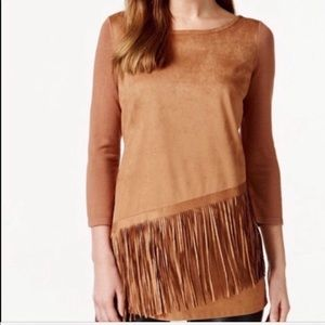 INC Fringed Faux Suede Tunic Top Western Costume L